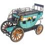 Miniatura Carruagem Azul / Amarelo Metal Oldway 21x31x16cm