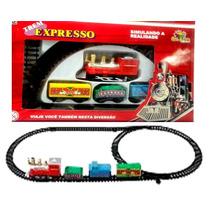 Ferrovia Infantil Trem Trenzinho Locomotiva 3 Vagões Trilhos