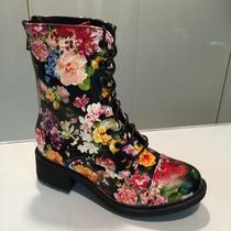 Botas Negra De Flores Para Damas Importadas Hellas