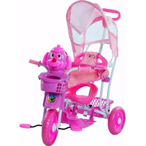 Triciclo Infantil Toca Musica E Luzes Com Capota Balancinho
