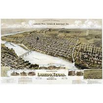 Lienzo Tela Mapa De Laredo Texas 1892 50 X 75 Cm Decoración
