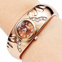 Relogio Feminino Quartzo Bracelete Bronze Strass