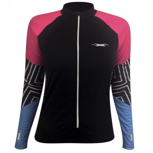 98ae76dc48 Camisa Ciclismo Feminina Buterffly Manga Longa Preto rosa - R  105 ...
