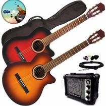 Guitarra Electro Criolla 1/2 Media Caja Ecualizador Ampli +