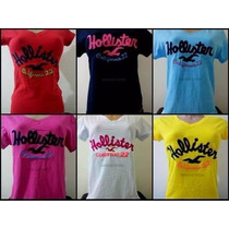 Kit C/ 5 Camisetas T-shirts Femininas Hollister