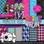 Kit Imprimible Pack Fondos Monster High Clipart