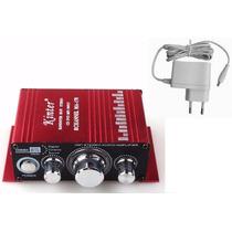 Mini Modulo Amplificador 2 Canais Carro Barco Mp3 Ipod+fonte