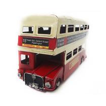 Onibus Vintage Retro De Londres 17cm Ferro Vermelho 2 Andar