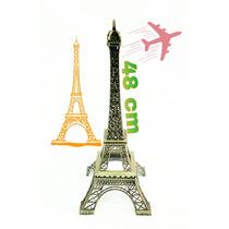 Torre Eiffel Paris 48cm Con Terminación En Oro Viejo