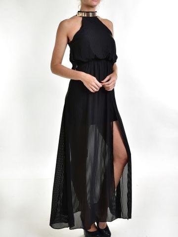 Vestido negro de gasa