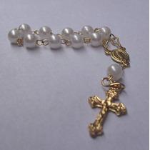 50un Mini Terço Dezena Lembrancinha Crisma Batismo*dourado*