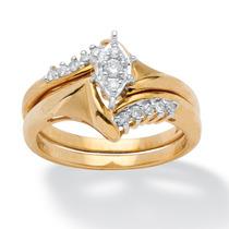 Juego Anillo Boda Oro 10k C/diamantes 1/5 Ct 2 Pzas Talla 7