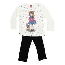 Conjunto Blusa E Calça Moleton Infantil Menina