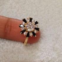 Anel Dourado E Preto - Semi-jóia Banhada Ouro 18k