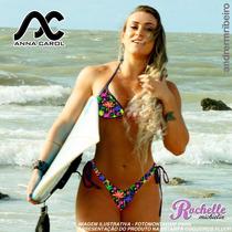 Bikinis Anna Carol Fio Dental Com Bojo Bac-5 Coqueiros Fluo