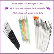 Kit 22 Pinceis + 10 Boleadores Decoração De Unhas + Brinde!