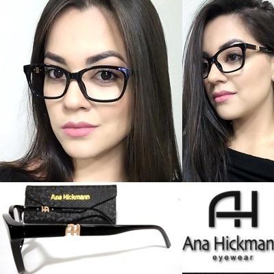 40b25e7b7938d Armação P  Óculos Grau Preto Ah2018 Grife Lancamento + Case - R  75,00 em  Mercado Livre