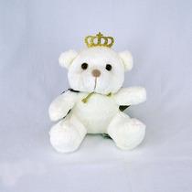 Urso De Pelúcia Principe Off White Mini Marinho