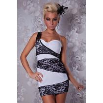 Sexy Vestido Asimetrico Blanco Encaje Negro Un Solo Tirante