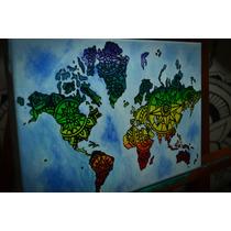 Cuadro Mapa Mundi De Colores 20x30