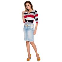 Saia Zíper Frontal Via Tolentino Jeans Moda Evangélica