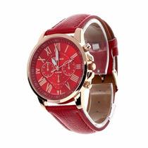 Relógio Marca Geneva Vermelho E Dourado Feminino Luxo Couro