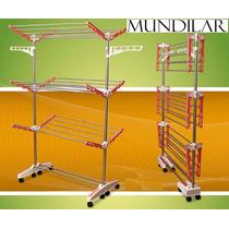 Varal De Chão Mundilar, 3 Andares,8 Rodinhas, Inox(original)