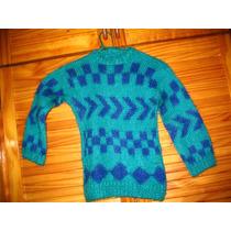 Sweater Pullover Lana Tejido A Mano Verde Con Azul 4 O 6