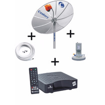Kit Antena Parabólica Century 1,50m + Receptor + Lnbf + Cabo