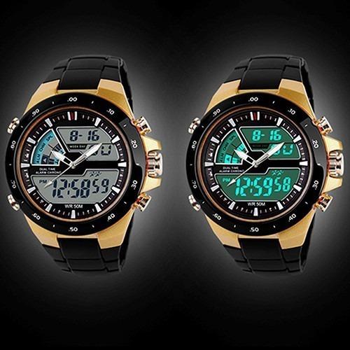 85b61138963 Relógio Skmei 1016 Dourado Masculino Esportivo Militar 5atm - R  59 ...