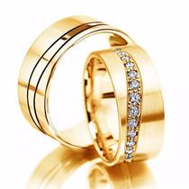 Par De Alianças Ouro 18k 8mm 19gr 13 Diamantes Frete Grátis