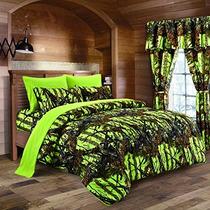 El Edredón De Lujo Maderas Verde Lima Camuflaje Rey 8pc Prem