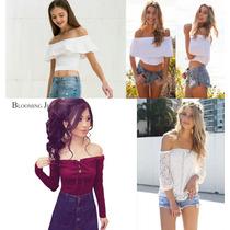 Blusas Hombros Descubiertos, Crop Tops Moda Casual Para Dama