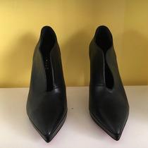 Zapatos Taco Aguja De Cuero Negros. Mary &a Joe. 35-36-37-38