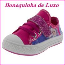 Tênis Feminino Infantil Cor Pink E Azul Com Velcro