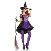 Disfraz Bruja Mujer Adulto Vestido Y Sombrero Halloween
