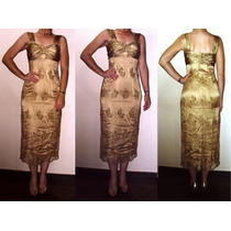 Vestido De Festa Cetim E Renda Seda Dourado Ouro Da Gregory