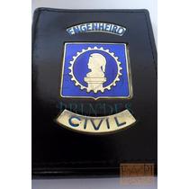 Porta Cheques Cédulas De Engenheiro Civil Crea Em Couro C63p
