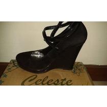 Zapatos Sandalias Plataforma Celeste