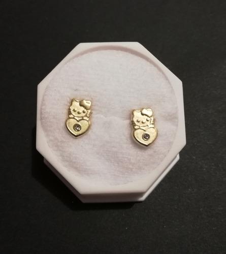 696b65a16f8b hermosos aretes broqueles kitty corazon oro de 14k niña dama. Cargando zoom.