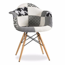 Cadeira Charles Eames Eiffel Com Braços Patchwork - Black