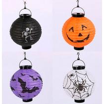 Halloween Lote 4 Pzas Farol Lámpara Papel Luz Led Baterías