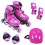 Roller Patins Radical Rosa Completo + Kit Proteção M (34-37)