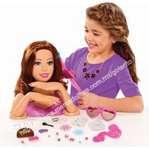 Barbie Maniqui De Lujo Para Peinados Maquillaje Uñas Castaña