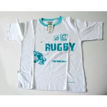 Remera Rugby Talle 12 Nueva Blanca Con Estampa Medidas Cm