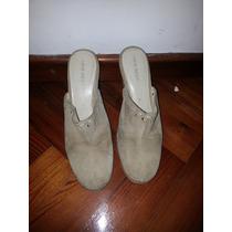 Sandalias Con Plataforma Color Beige N|39 De Cuero Gamuzado