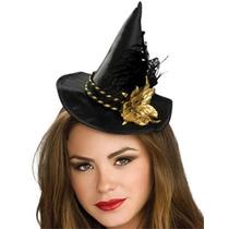 Mini Negro Sombrero De La Bruja Con La Flor Del Oro Del Tra