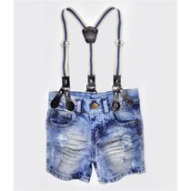 Bermuda Jeans Grease Com Suspensório