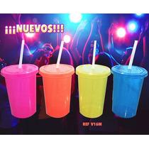 Vaso Con Popote De Colores Fluorescentes Neón
