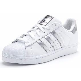 adidas superstar plateadas y blancas